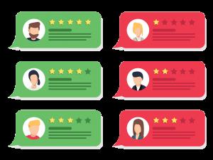 rode en groene review speech bubbles met reviews van verschillende personen